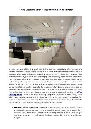 Shine Cleaners Offer Finest Office Cleaning in Perth