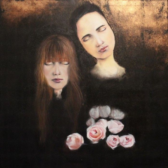 LISTEN oil + gold leaf on canvas by Nicole Maguire - $850 available to buy at bluethumb.com.au/nicole #rose #women #portrait #art #painting