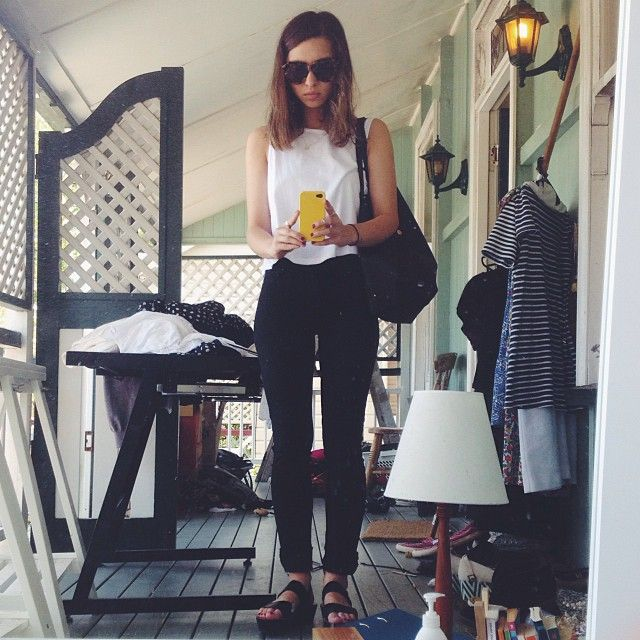 Going for a quick coffee and breakfast with my housemates, wearing white Agent Ninety Nine singlet, black Dr. Denims and black flatforms with my leatherless black bag from Sportsgirl and Karen Walker Number Ones!