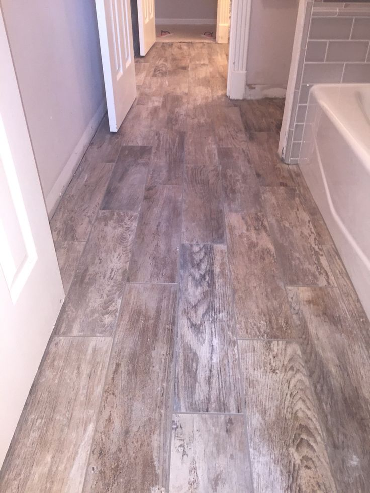 Hollywood bath floor. Arizona Tile Club Gray 6x24