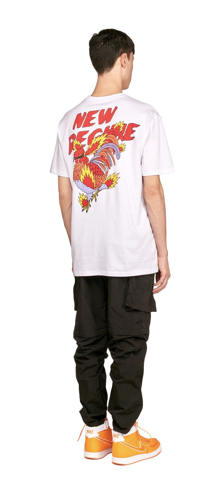 Ricardo Cavolo X Atelier New Regime Flaming Rooster T-Shirt (White) / This short sleeve t-shirt features the Flaming Rooster collab artwork printed on the back, vigilance, courage and pride are a few of the symbols behind the rooster. #ricardocavolo