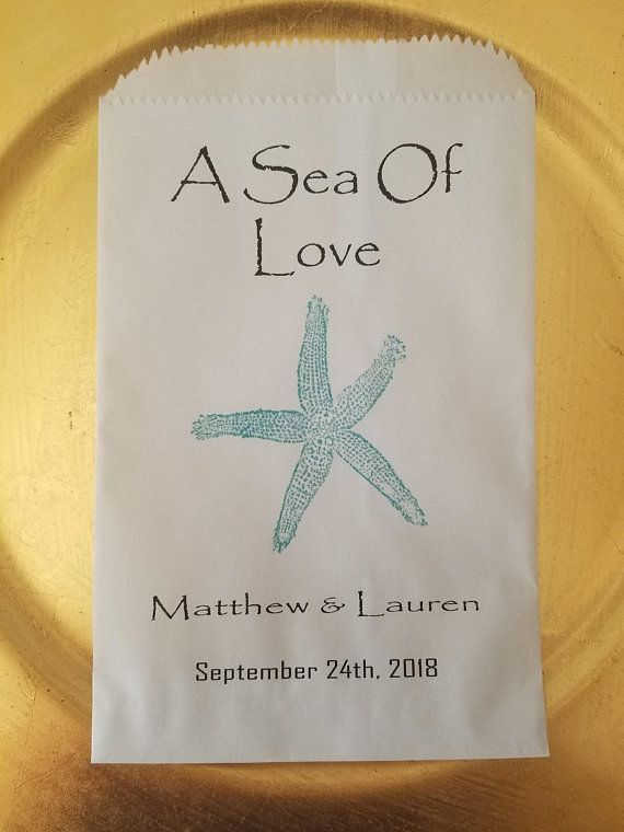 Starfish A Sea Of Love Custom Candy Favor Bags Personalized Wedding Gift Buffet Treat