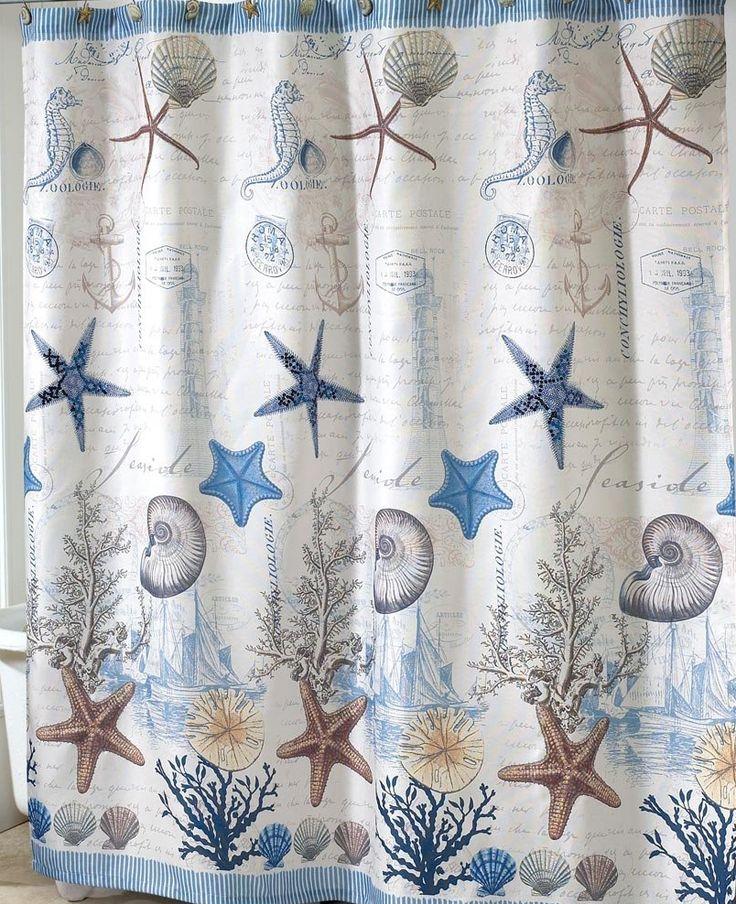 coastal seashell linen fabric   Antigua Nautical Shower Curtain   Sailboat  Coastal Decor Fabric Shower. Best 25  Nautical shower curtains ideas on Pinterest   Blue