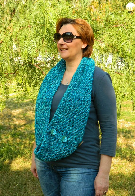 Teal blue infinity scarf chunky teal neckwarmer by craftysou, $50.00