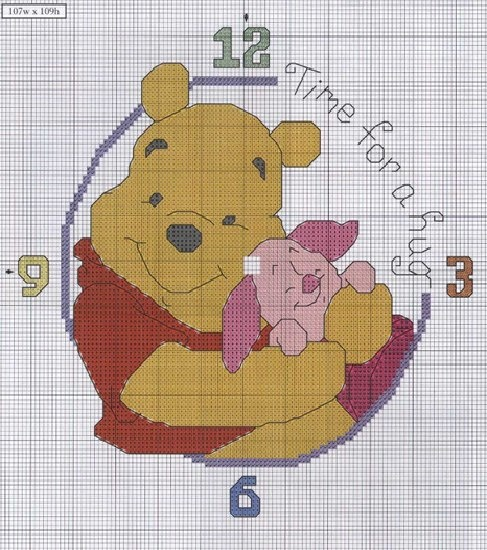 Time for a hug clock Winnie the Pooh cross stitch