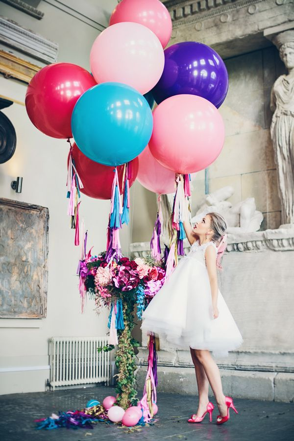oversized ballons and bride - photo by Jessica Withey Photography http://ruffledblog.com/magic-ballerina-wedding-inspiration