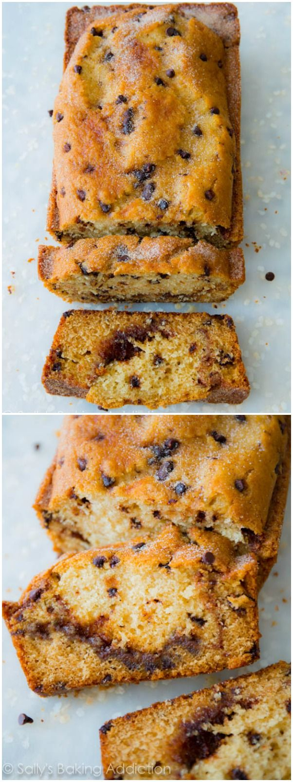 Incredibly-moist quickbread with a deep, dark cinnamon swirl inside. Oh, there's chocolate chips too!