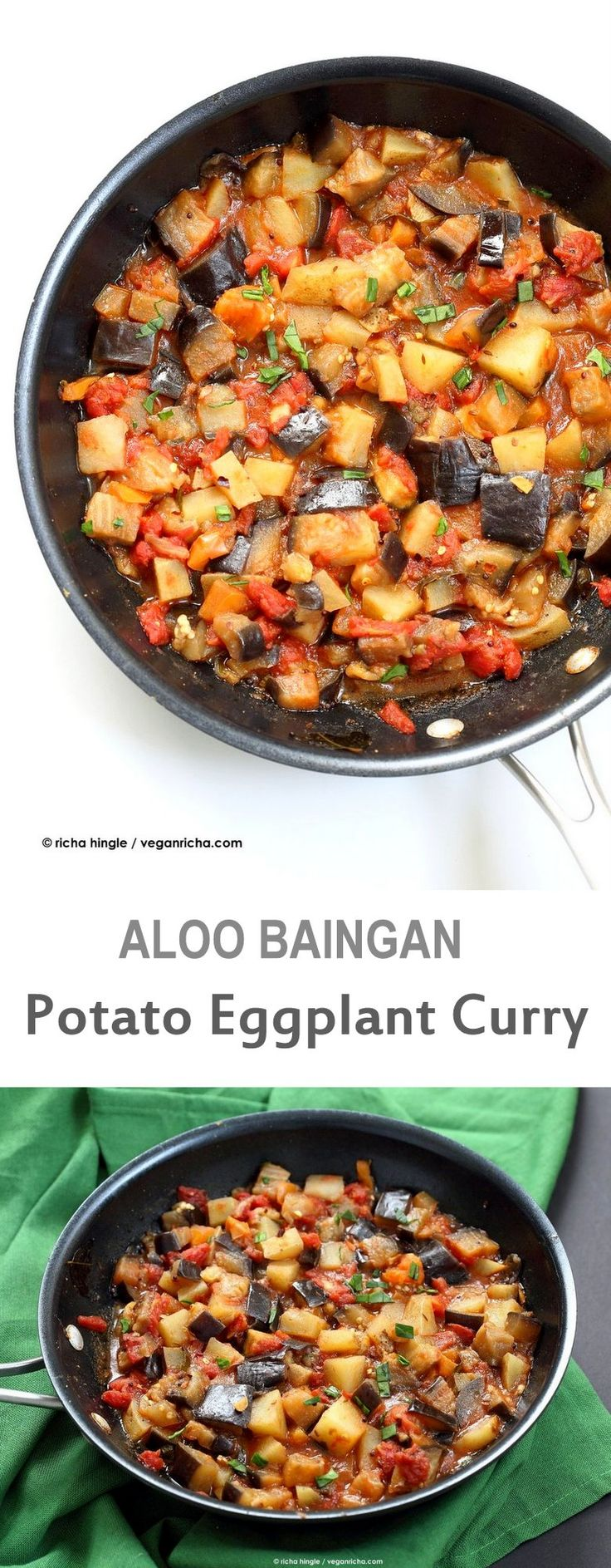 Easy Indian spiced Eggplants and Potatoes. Aloo Baingan Recipe. Curried Potato Eggplant side. | VeganRicha.com vegan glutenfree Indian