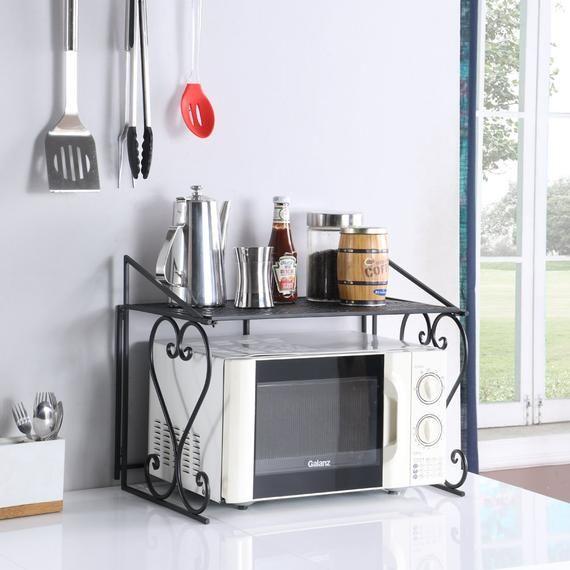 Black Microwave Oven Shelf Cabinet Kitchen Rack Counter Organizer Rack Us Stock Kitchen Appliance Storage Small Kitchen Counter Microwave Shelf