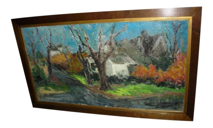 Large Woodstock Farm Painting by Carl Fuchs on Chairish.com