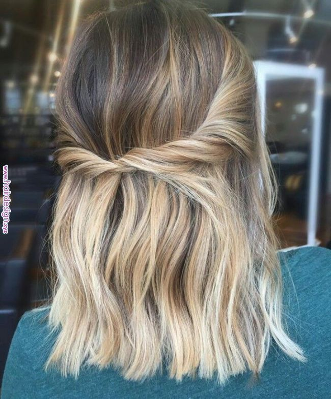 Twisty Half Up Do Mid Length Hairstyles In 2019 Pinterest Hair Hair Styles And Hair Inspo Twisty Hair Styles Glamorous Wedding Hair Short Hair Styles