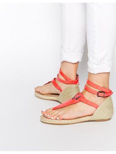 Supertrash Red Grace Espadrille Toe Post Sandals - Red