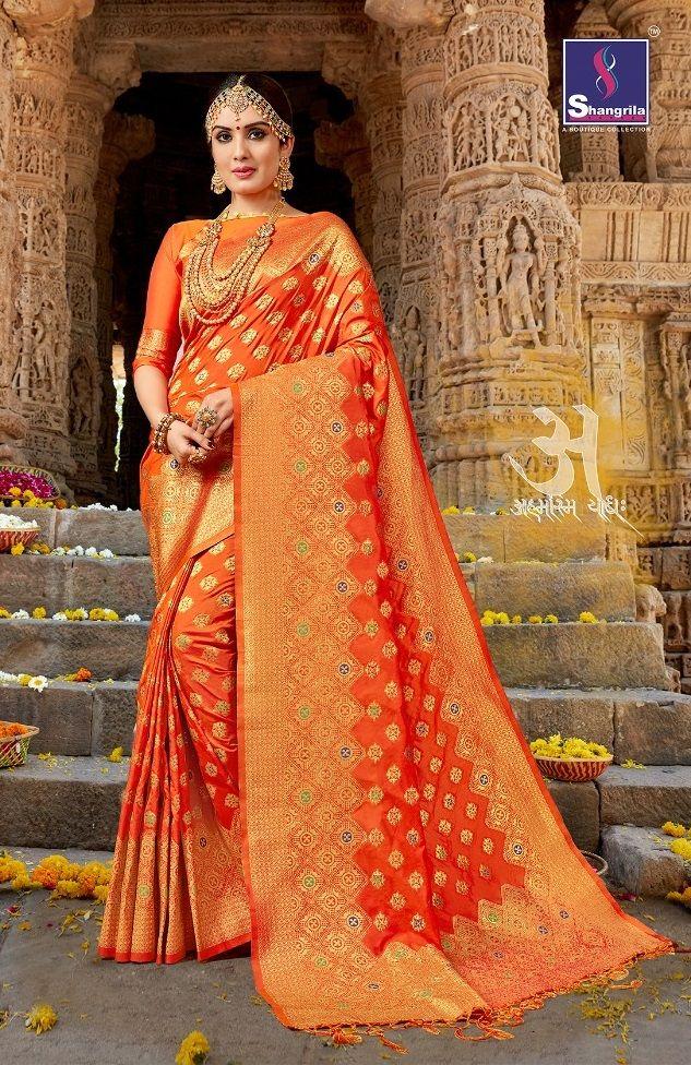 58156f3918  orange  linen  cotton  banarasi  saree