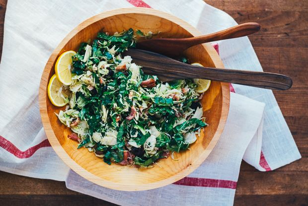 """The perfect salad for people who """"don't like salad"""": shaved Brussels sprouts and kale with bacon, Meyer lemon, and tart dried cherries."""