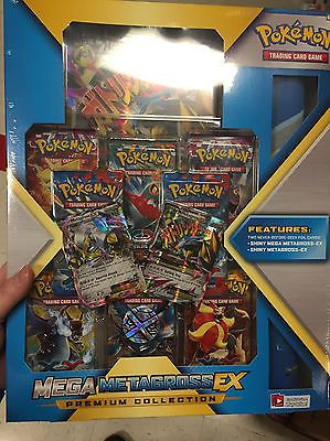Pokemon Shiny Mega M Metagross EX Premium Collection Box Booster Packs Coin Card