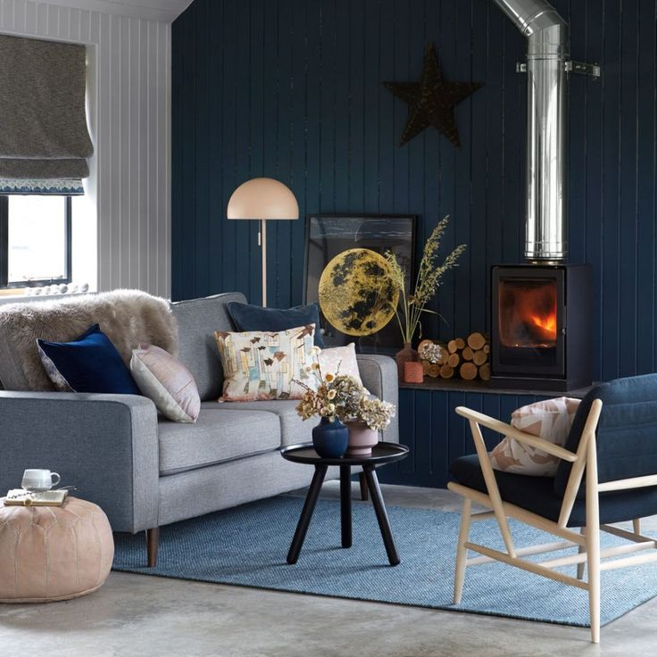 Midnight Blue Living Room: Modern Living Room With Midnight Blue Colour Scheme And