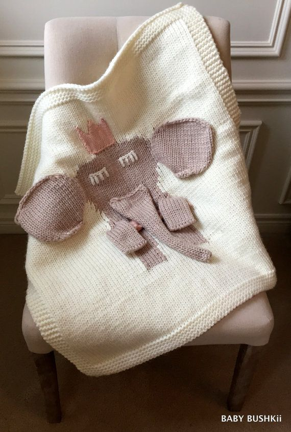 This playful and sweet 3-D chunky knit elephant blanket is destined to become a favourite for any young princess!  The cute grey elephant comes to