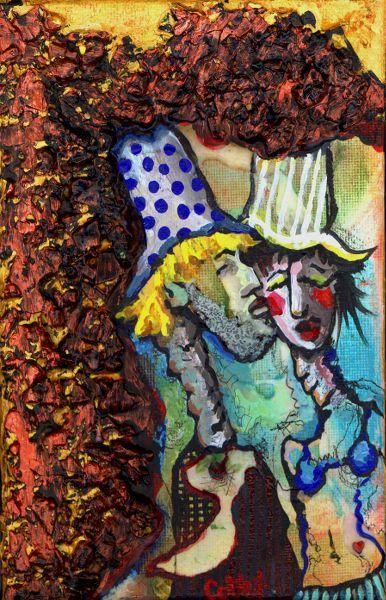 """Love in the Grotto/L'amour dans la grotte - Acrylic on canvas/Acrylique sur toile - 5"""" X 7"""""""
