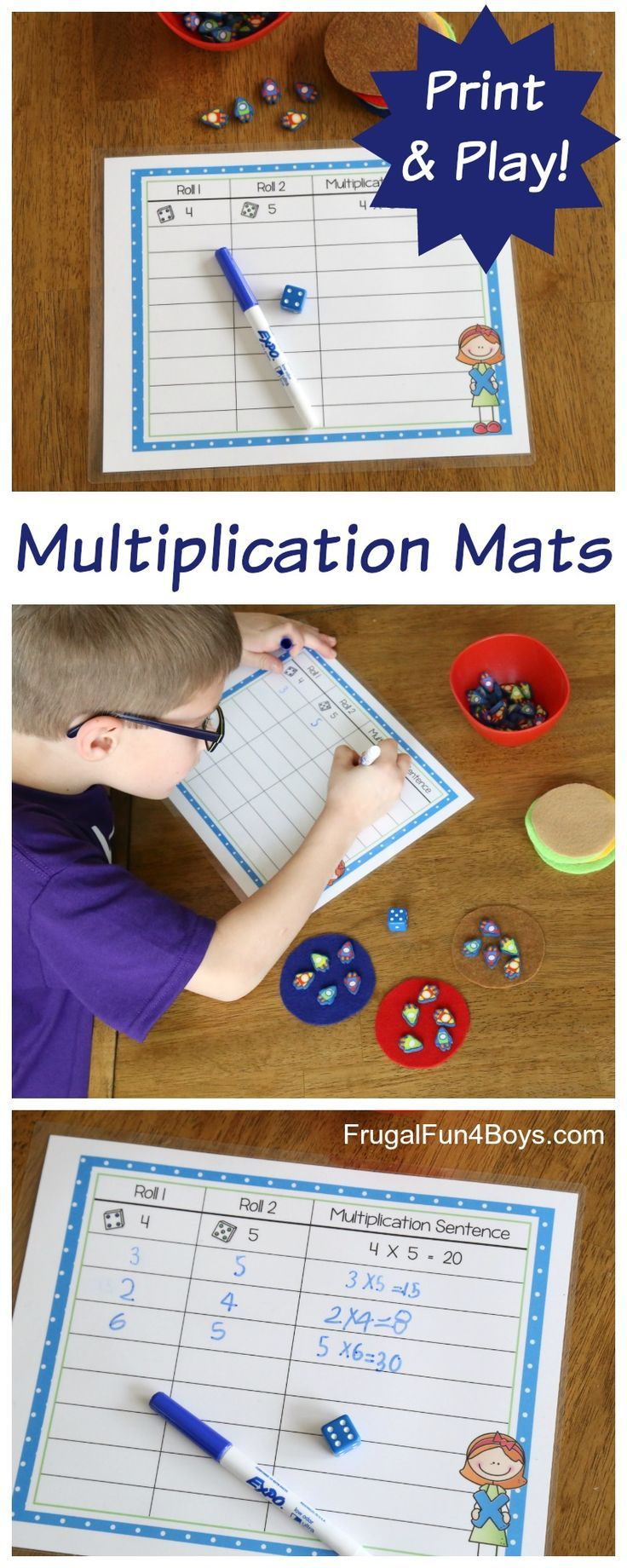 Hands-On Multiplication - Printable Mats.  Roll the dice to see how many planets to put out. Roll again to see how many rockets to put on each planet. Clever way to teach multiplication!