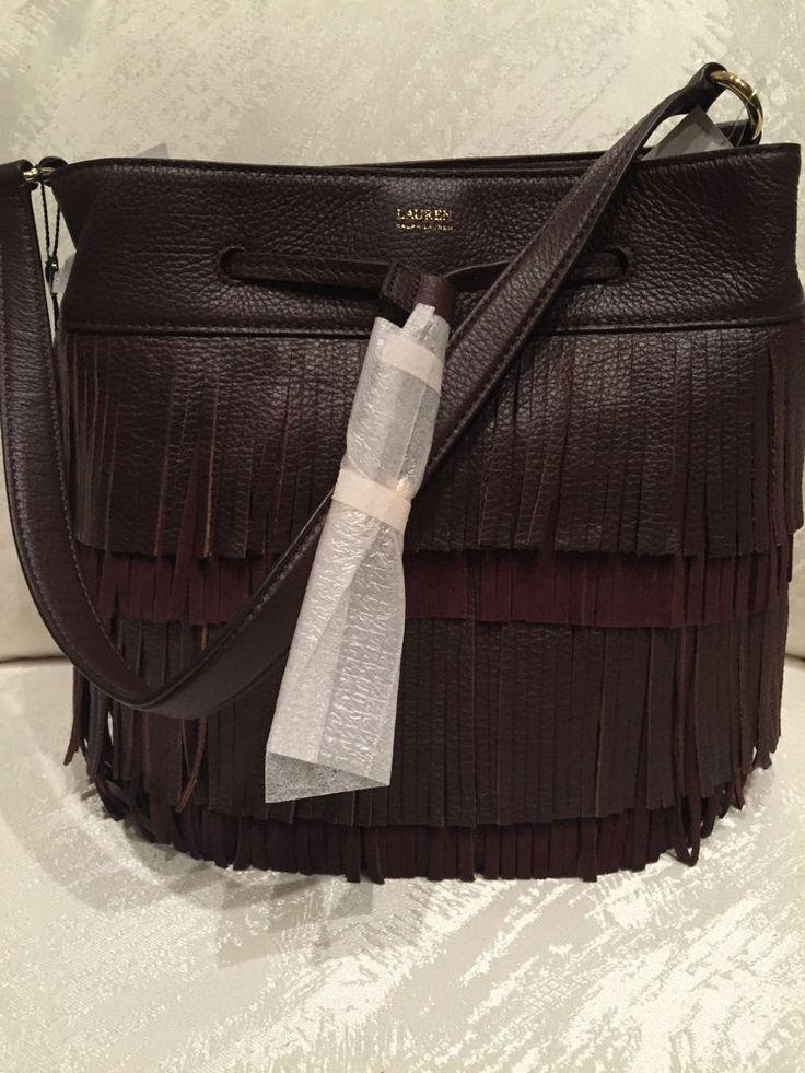 Ralph Lauren Handbag Drawstring Cobden Bucket Brown Leather NWT $268 #RalphLauren #BucketDrawstring