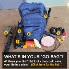 BOB (Bug-Out-Bag) Secrets. Pic and link don't match. Goes to a preparedness checklist.