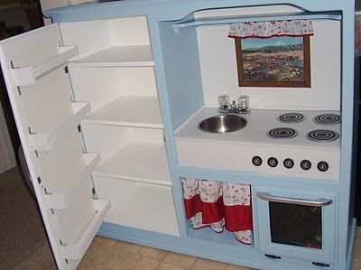 diy play kitchen - fridge shelves and raised platform for sink and stove height
