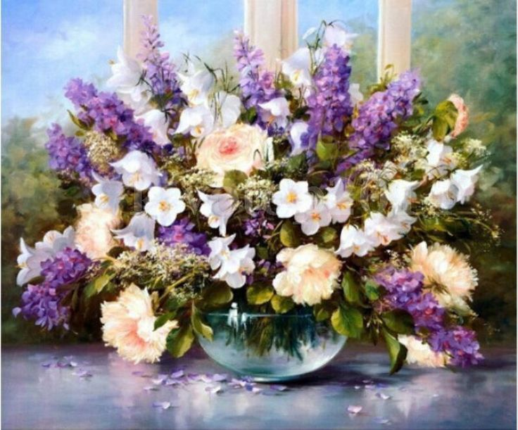 "16"" 20"" DIY Paint by Number Kit Beautiful Flowers Oil Painting on Canvas New 