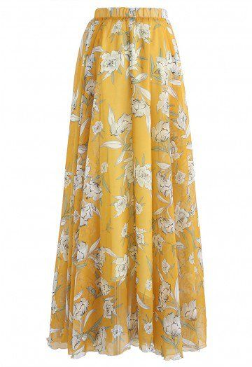53d9ecc08f7fa4 Flower Season Chiffon Maxi Skirt in Yellow - Skirt - BOTTOMS - Retro, Indie  and Unique Fashion