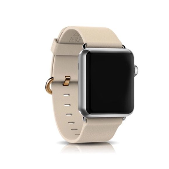 Creme Apple Watch Band, Gold Buckle, 38mm or 42mm Creme Leather Apple Watch Band with 38mm adapter or 42mm (please select your adapter size when you purchase).  It has a gold buckle and silver brushed adapter. I also have it in different styles -please see my other listings. Send me a message if you are looking for others, or look at my other listings. Only the band is for sale. It does not include the Apple Watch band. Feel free to ask any questions!  Other