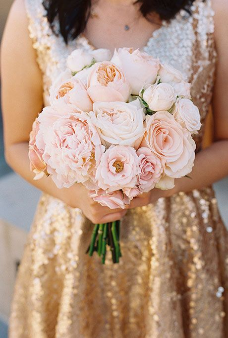 Brides.com: . A pale pink bouquet comprised of garden roses and peonies, created by Twigg Botanicals, a San Diego-based florist.