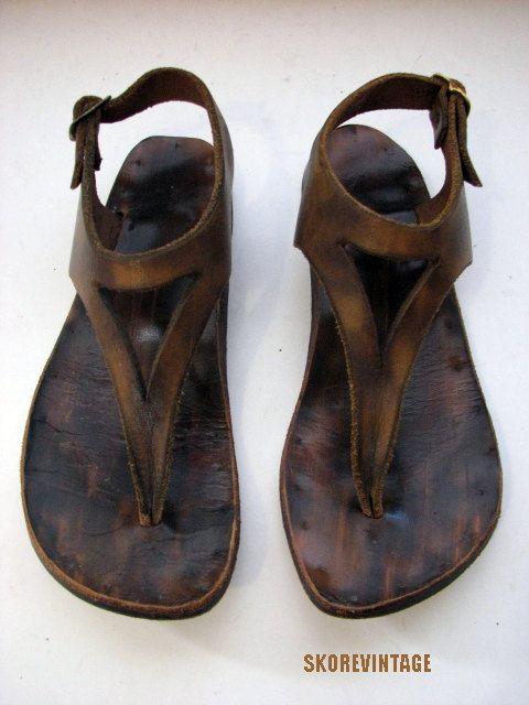 Vintage hecho a mano tiras de sandalias de cuero por SKOREVINTAGE