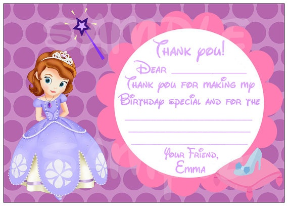 Sofia the first Princess Birthday Party Thank by PinkPaperInvites, $3.50