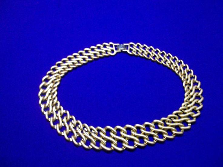 Vintage Gold Tone Metal  Chain Link Collar Necklace Signed Monet DV15 #Monet #VintageCollarNecklace