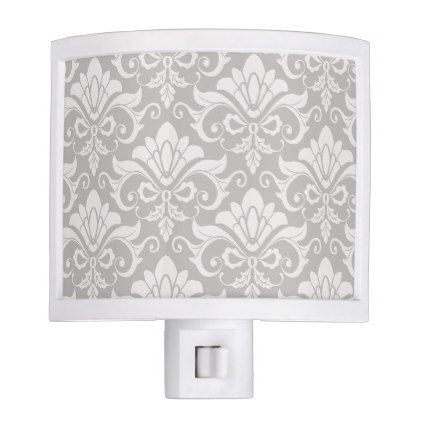 Multi-Tone Taupe Neutral Shabby Chic Damask Night Light - shabby chic unique special diy