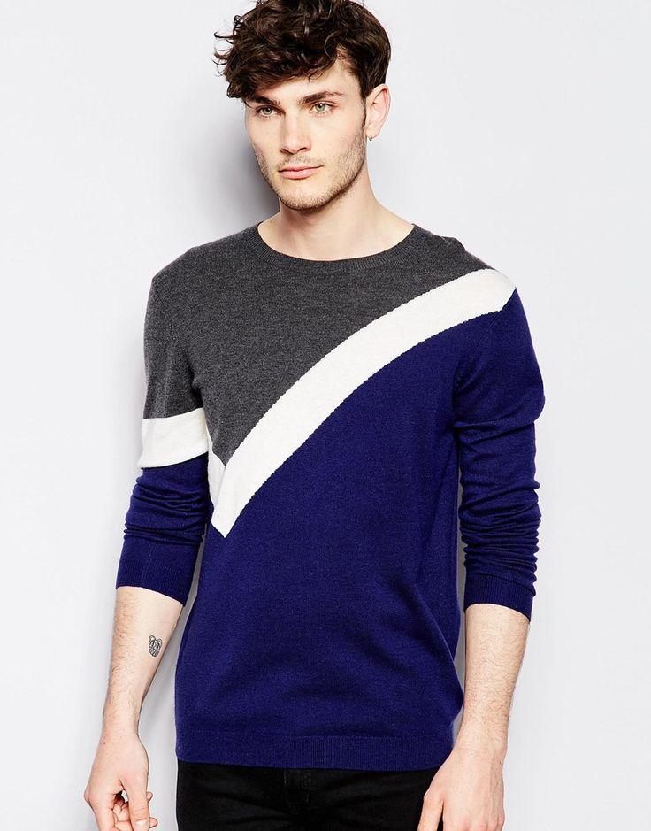 Imagen 1 de Jersey en mezcla de lana de merino con diseño colour block de ASOS