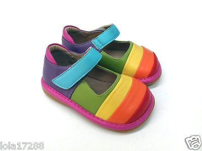 Girls-Squeaky-Shoes-Rainbow-Mary-Janes-1009-Size-4-5-6-7-8-9