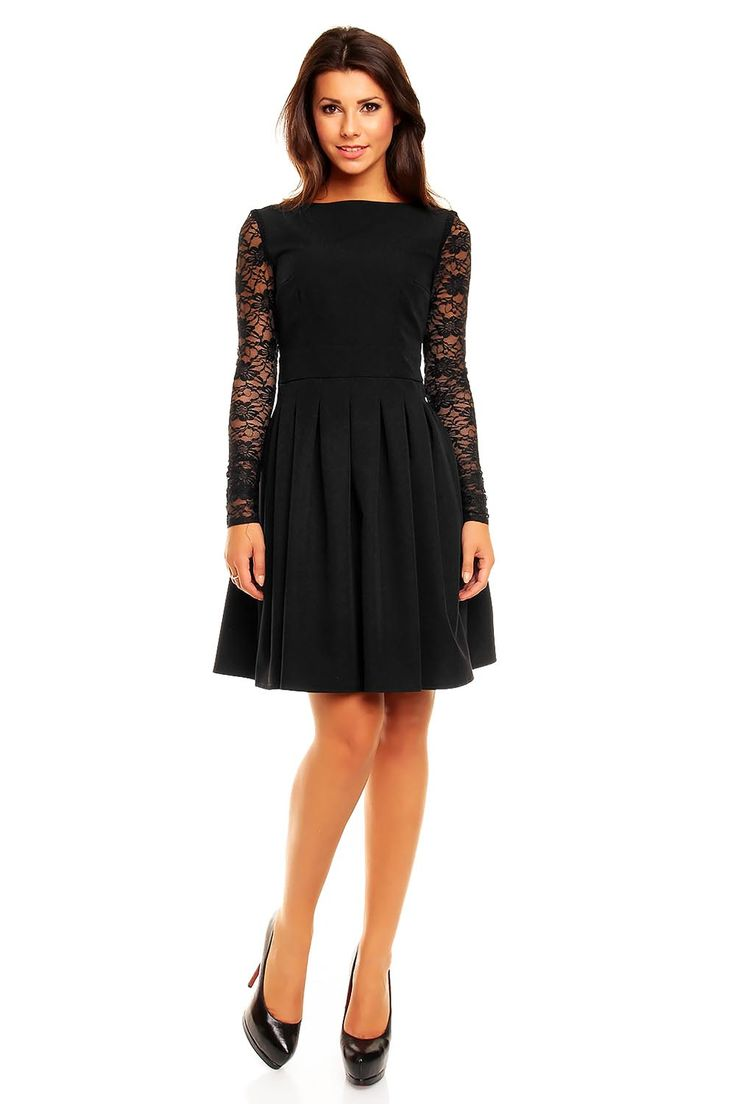 Black Sabrina Collar Lacey Pleat Dress