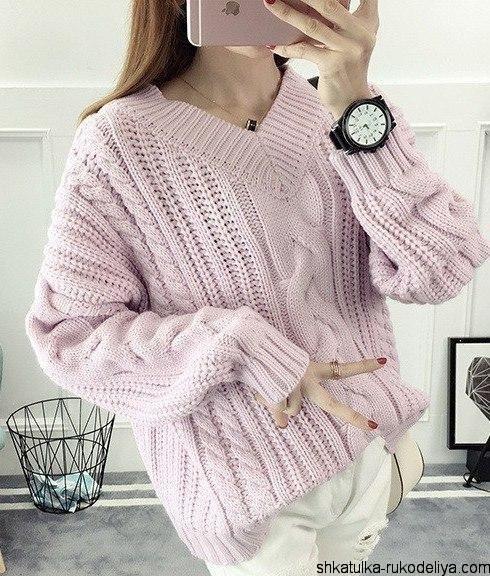 """Объемный пуловер спицами """"Розовая зефирка"""". На резинку наберите 128 петель (итальянским способом), свяжите резинку на высоту 7 см, дальше распределяйте петельки для симметрии можно приб…"""