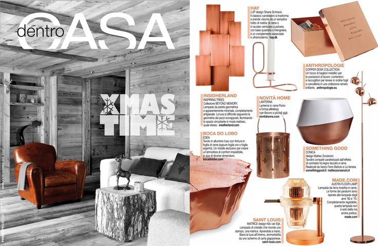 INSIDHERLAND | Inspiring Trees Wall Lamp by Joana Santos Barbosa, copper version featured in DentroCasa Magazine from Italy, December 2014 #INSIDHERLAND #copper #lamp #walllamp #inspiringtrees