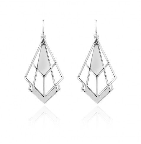 Long openwork drop earrings with geometric motifs from the AGATHA Paris Cosmic Girl fashion jewellery collection