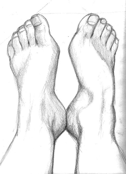 Saara Kartimo. My Feet. Pencil drawing. HAMK Crafts and Recreation.
