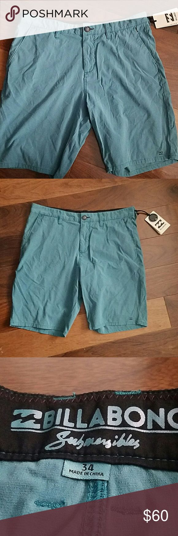 """SALE (was $50) Billabong Mens Boardshorts NWT! Brand new with tags. Submersible casual shorts - quick dry boardshorts. Size 34. Color: """"ocean"""" blue. Billabong Swim Hybrids"""