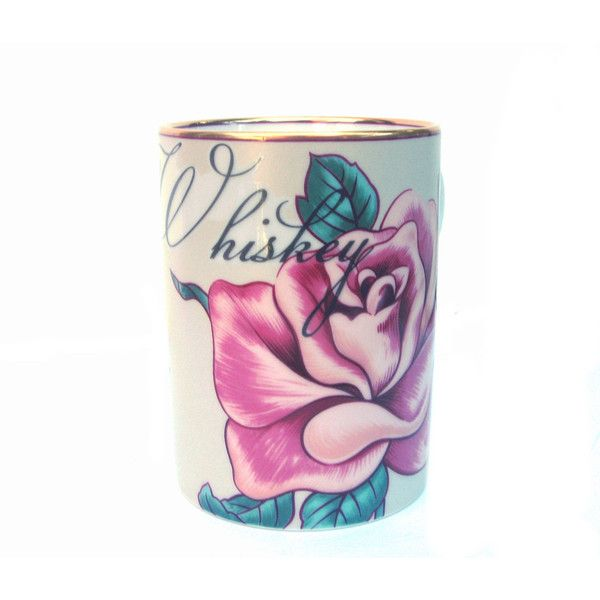 Whiskey Altered Coffee Cup (€27) ❤ liked on Polyvore featuring home, kitchen & dining, drinkware, home & living, silver, vintage coffee mugs, pink coffee mug, vintage coffee cups, pink coffee cup and floral coffee mugs