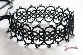 Giulietta - biżuteria frywolitkowa tatted necklace goth gotycka biżuteria dusik gothic style