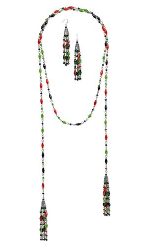 Lariat-Style Necklace and Earring Set with Celestial Crystal® Beads and Antiqued Silver-Plated White Brass Cone Beads