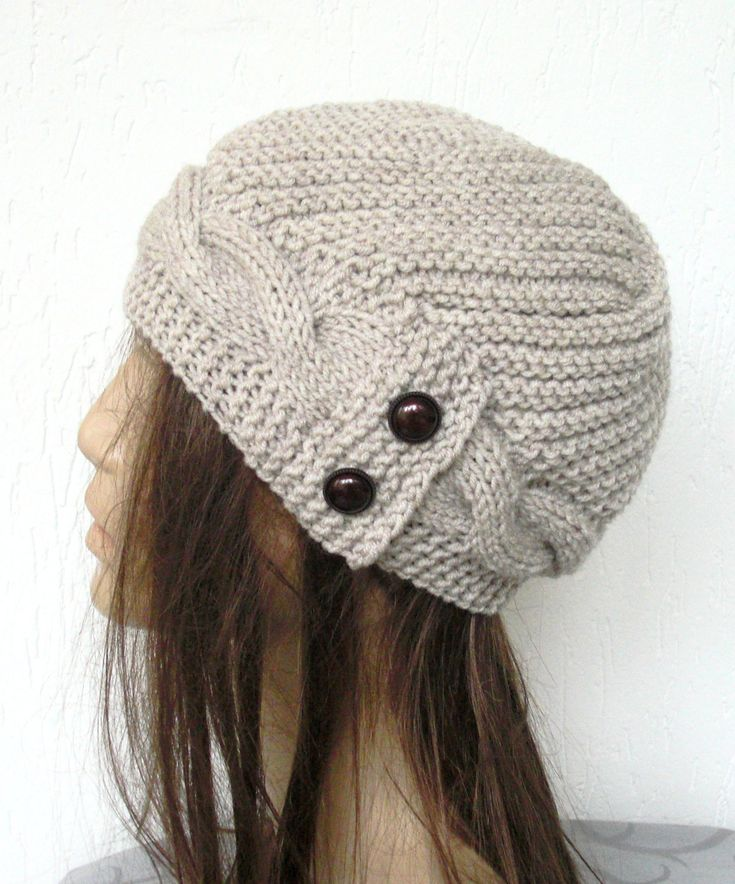 Hand Knit Hat- winter hat - Womens hat Cloche hat in Oatmeal Beige Winter Accessories Fall Autumn Winter Fashion Cable knit hat. $35.00, via Etsy.