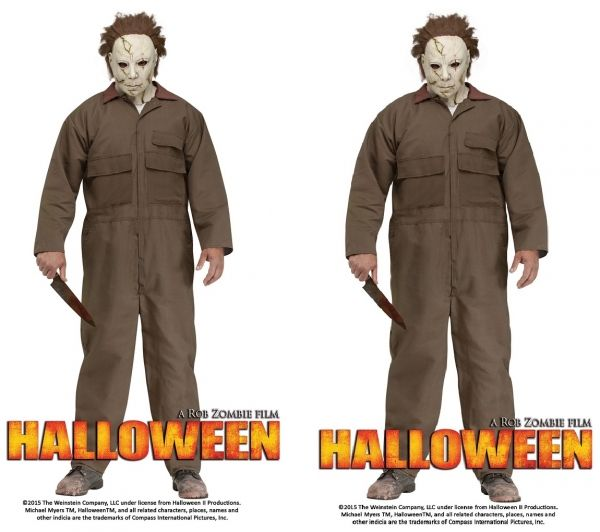 Adult Michael Myers Costume - 2 sizes  This Officially Licensed Rob Zombie's Halloween is perfect to give your friends a fright!  Costume includes: Broiler Suit and Full Mask with Hair.  Boots and Knife are NOT included!  Standard Size fits most up to 200lbs.  Plus Size fits up to 300lbs.  Mask covers the head back and front and is made of Latex.