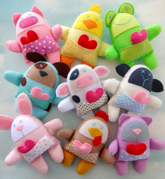 Nine Felt Animal Softies Sewing Pattern - Spring Animals - PDF ePATTERN for Pig, Cow, Chicken, Sheep, Dog, Cat, Frog, Bunny & Chick