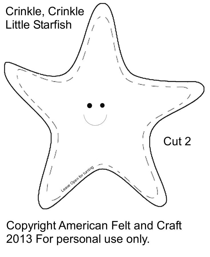 Starfish template - Please Images and  NOT template ... Sewing with thick needles and felt... Stuffing with batting or plastic bags...