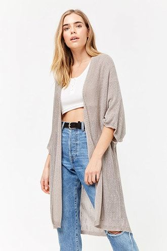 7d153551851786 Frayed Open-Front Cardigan